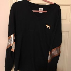 PINK Victoria's Secret Tops - PINK Black & Rose Gold Sequin Long Sleeve Tee